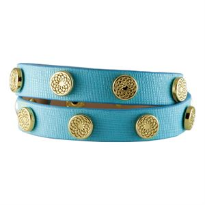 Picture of Turquoise Leather Wrap with Gold Studs
